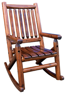 Amber Log Single Porch Rocker   Rustic   Outdoor Rocking Chairs   By Leigh  Country