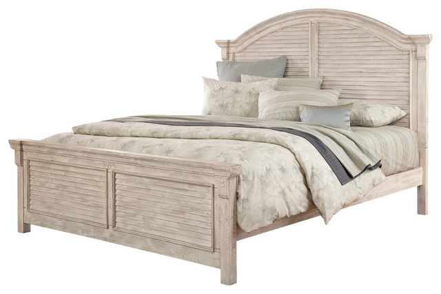 Cottage Traditions Crackled White Complete Arched Panel Bed, Queen.