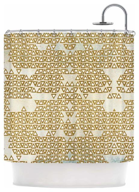 Pom Graphic Design Mint Gold Empire Yellow Geometric Shower Curtain