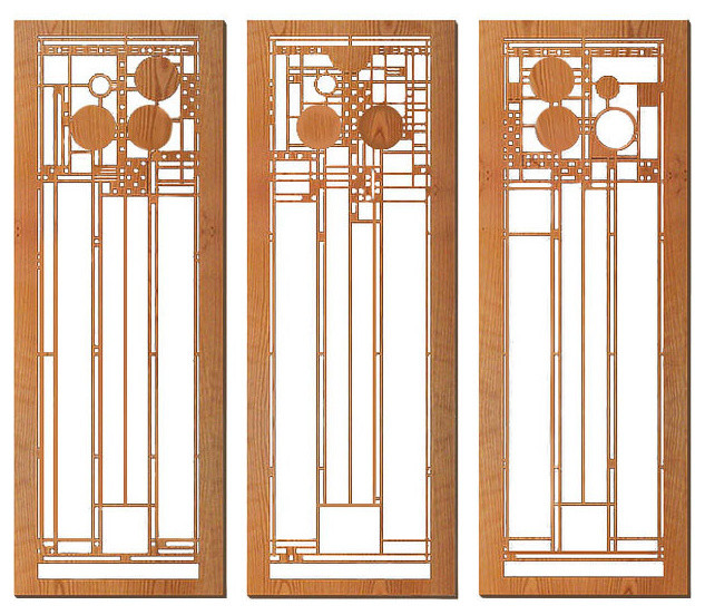 Frank Lloyd Wright Coonley Set Of Three Wall Panels Cherry.
