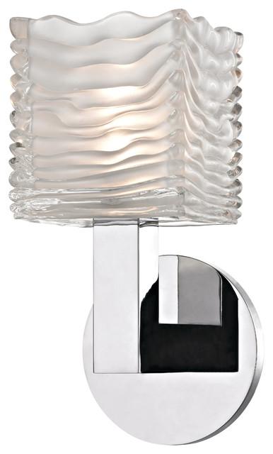 Sagamore 1 light led bath bracket polished chrome transitional bathroom vanity
