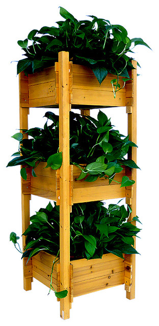 3 Tier Planter Box Transitional Outdoor Pots And Planters By