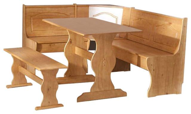 Pleasing Reversible 3 Piece Corner Dining Set Light Honey Natural Wood Finish Machost Co Dining Chair Design Ideas Machostcouk