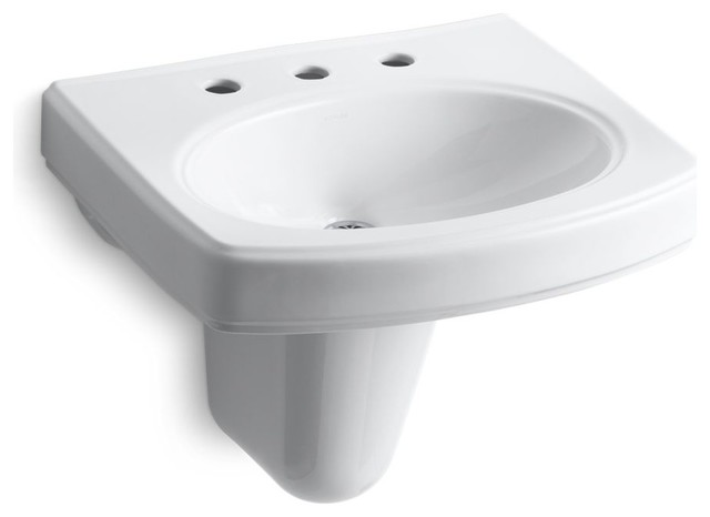 Pinoir Wall-Mount Lavatory With 8 Centers, White.