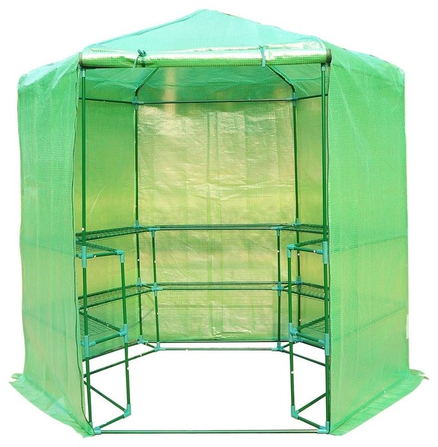 Portable 3-Tier Shelf Hexagonal Walk In Greenhouse, 7.5&x27;.