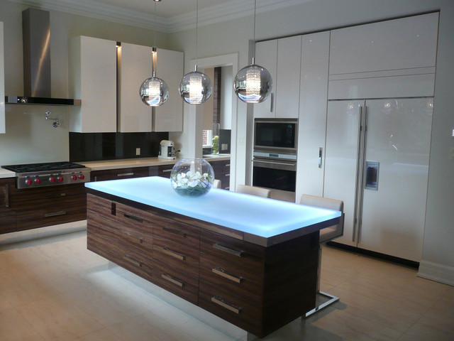 Glass island - Contemporary - Kitchen Islands And Kitchen ...