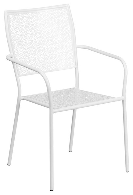 Transparent Crystal White Indoor-Outdoor Steel Patio Arm Chair With Square Back.