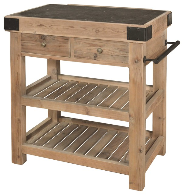 Nadar French Country Reclaimed Pine And Blue Stone Block Kitchen Island  Traditional Kitchen Islands