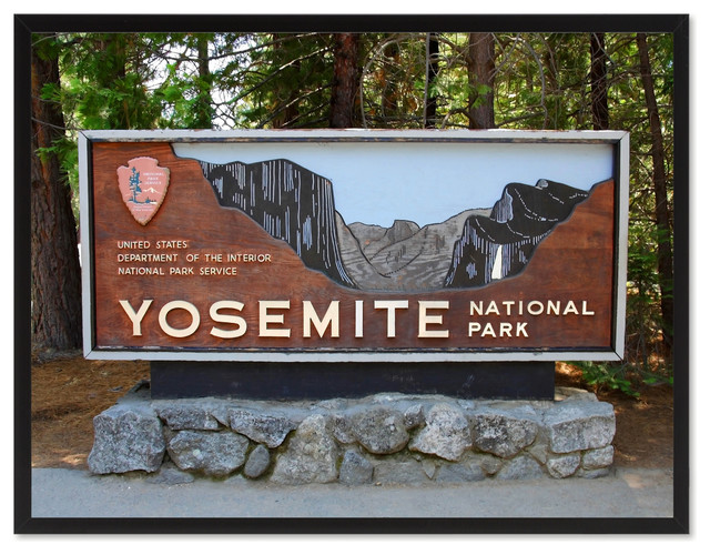 Yosemite National Park Sign Landscape Photo Print On Canvas With Picture Frame Contemporary Prints And Posters By Spotcolorart Usa