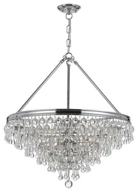 Crystorama calypso 6 light chandelier chandeliers by better crystorama calypso 6 light crystal teardrop chrome chandelier polished chrome aloadofball Gallery