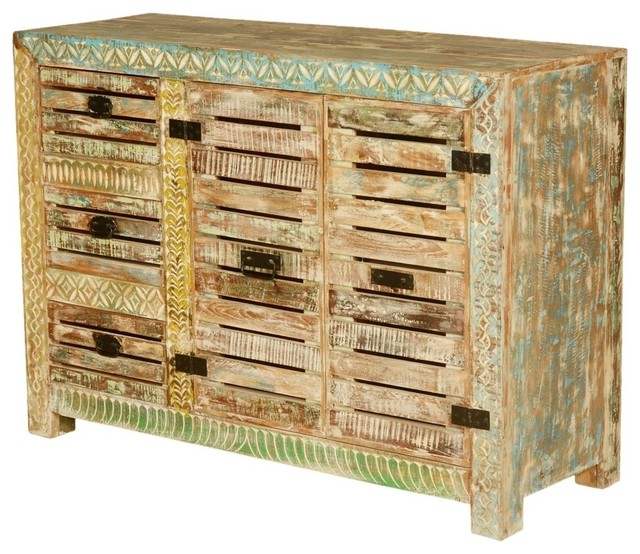 Wanship Handcrafted Rustic Reclaimed Wood 3 Drawer Buffet Cabinet by Sierra Living Concepts