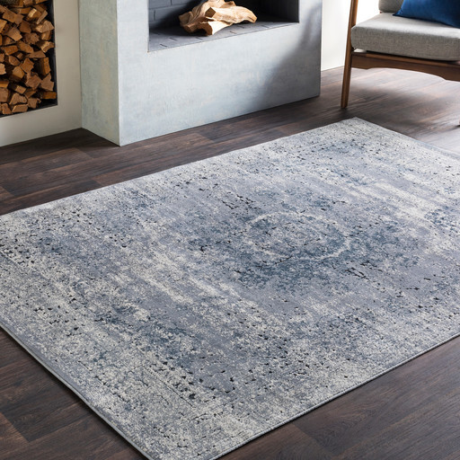 "Wolverhampton Vintage-Style Distressed Blue Area Rug, 7'10""x10'3"" Rectangle"
