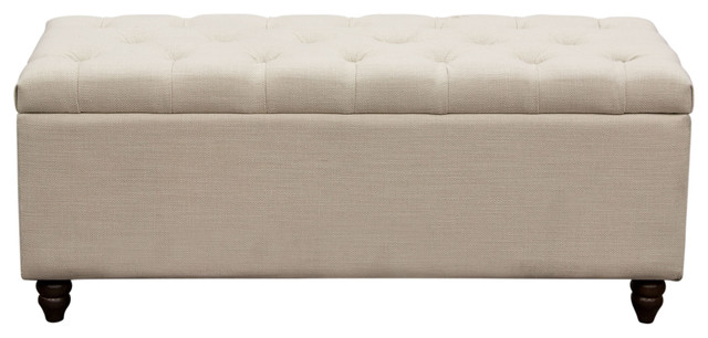 Park Ave Tufted Lift-Top Storage Trunk by Diamond Sofa, Desert Sand Linen  traditional - Park Ave Tufted Lift-Top Storage Trunk - Traditional - Accent And
