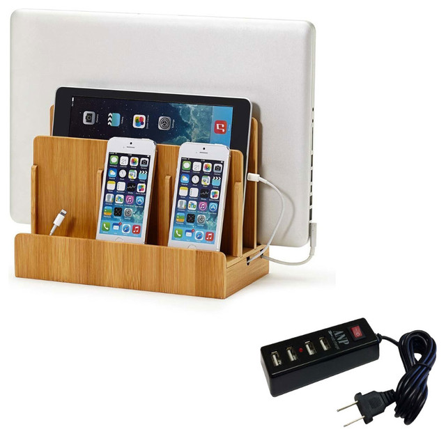 Great Useful Stuff Bamboo Multi Device Charging Station