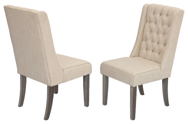 Jefferson Button Tufted Dining Chair, Set Of 2, Beige.