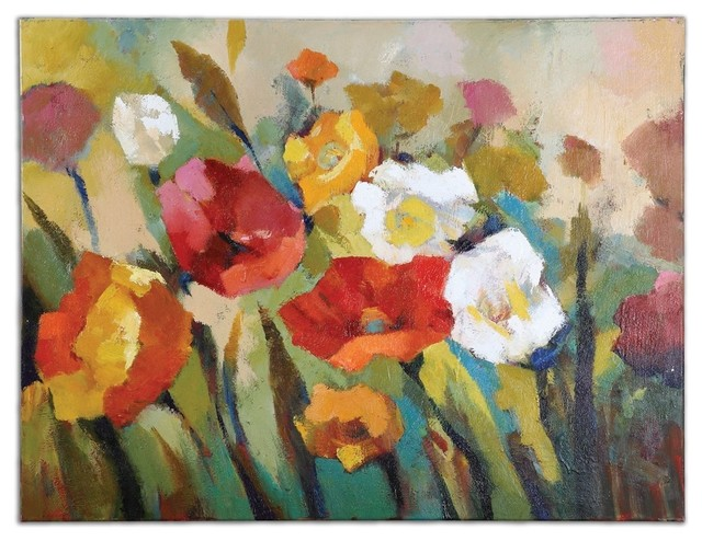 Uttermost Spring Has Sprung Hand Painted Floral Canvas Art