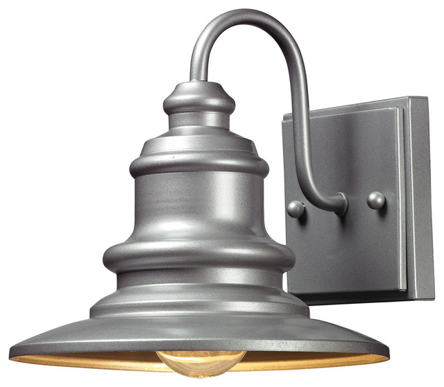 Marina Outdoor Wall Sconce, Matte Silver.