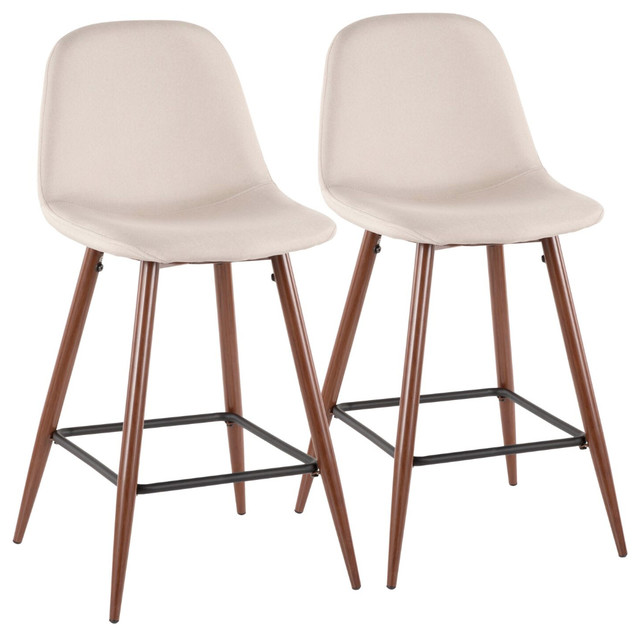Lumisource Pebble Counter Stool, Walnut Metal and Beige, Set of 2