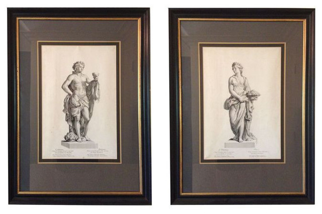 Pair of framed black and white classical prints 1700 est retail 750 on c