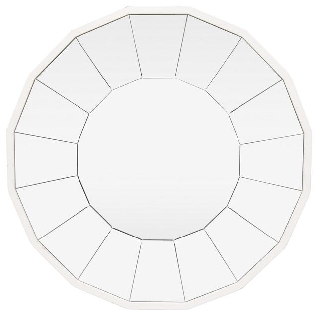 Three Hands Wall Mirror, White, 14x1.25x14.