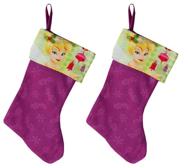 disney tinkerbell christmas stocking set holiday decorations - Purple Christmas Stockings