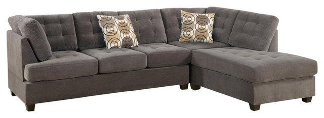 2 Piece Corduroy Sectional Sofa Waffle Suede Charcoal