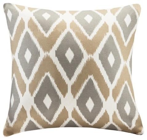 Diamond Printed Square Pillow, Taupe.