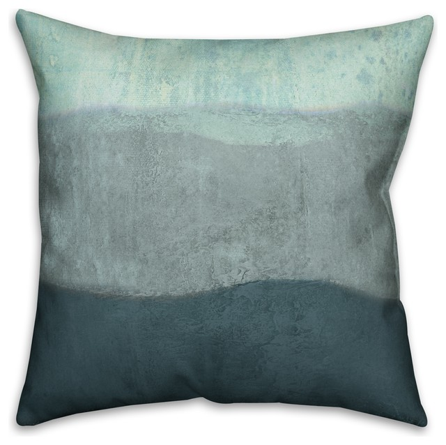 Coastal Inspired Throw Pillows : Blue Ombre Coastal Stripes 18x18 Faux Suede Pillow - Beach Style - Decorative Pillows - by ...