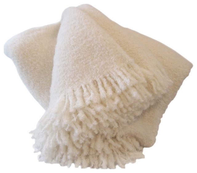 """Wool & Angora Mohair Throw Blanket, White, 53""""x71"""""""