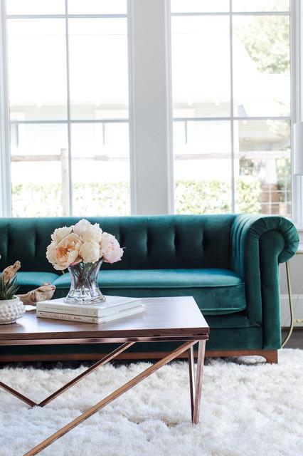 Green Velvet Sofa - Modern Chesterfield, Glam Chic ...