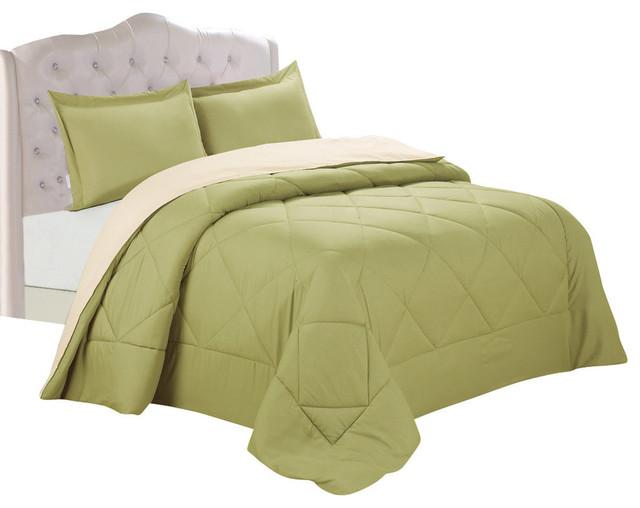 Peach Skin Reversible Comforter 3-Piece Sets Full/Queen