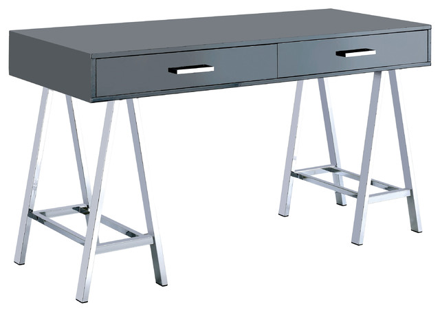 Maren Contemporary Dual Drawer Computer Desk, Gray.