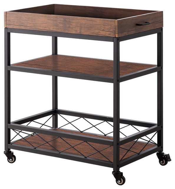Buda Kitchen Serving Cart, Black Metal Frame & Walnut Wood, With Storage  Shelves