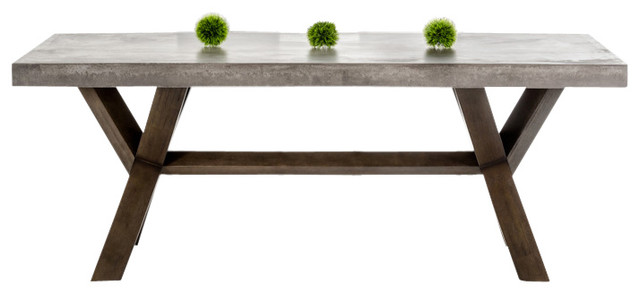 Modrest Urban Concrete Rectangular Dining Table Transitional Dining Table