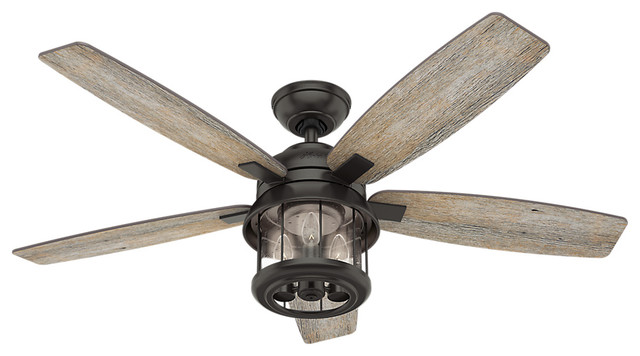 "Coral Bay Noble Bronze Ceiling Fan With Light And Handheld Remote, 52""."