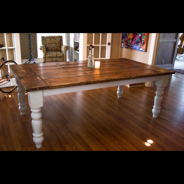 7ft Oversized Farmtable With Spun Legs Rustic Dining Tables