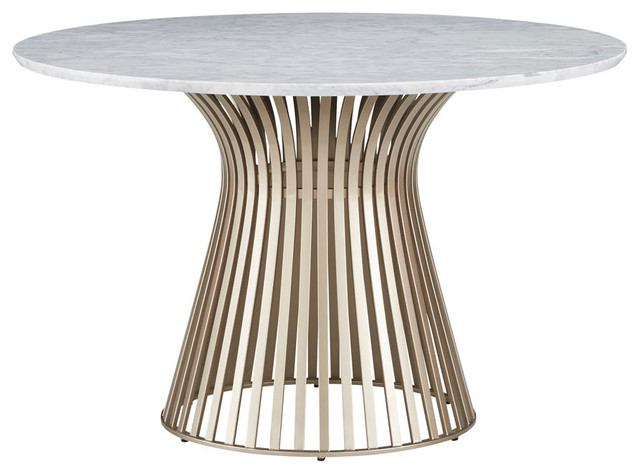Palliser Furniture Naomi Round Dining Table With Gold Base And Marble Top