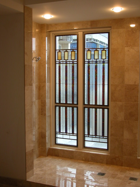 private residence  insulated stained glass bathroom window, Bedroom decor