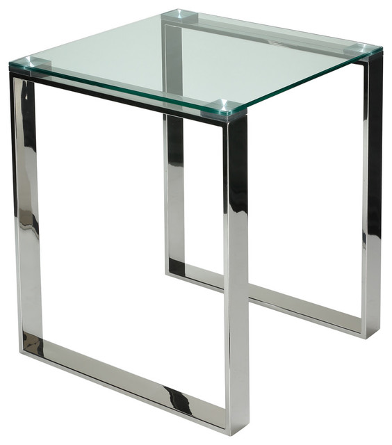 Remi Contemporary Square Gl End Table With Chrome Finish