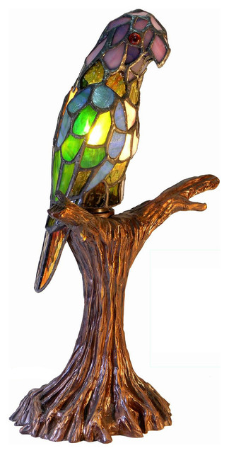 Tiffany-Style Parrot Accent Lamp.