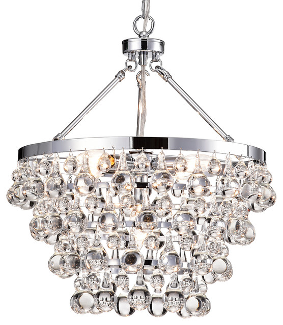 Clarus 5-Light Chrome Four Tier Crystal Chandelier Ceiling Fixture Glam Lighting