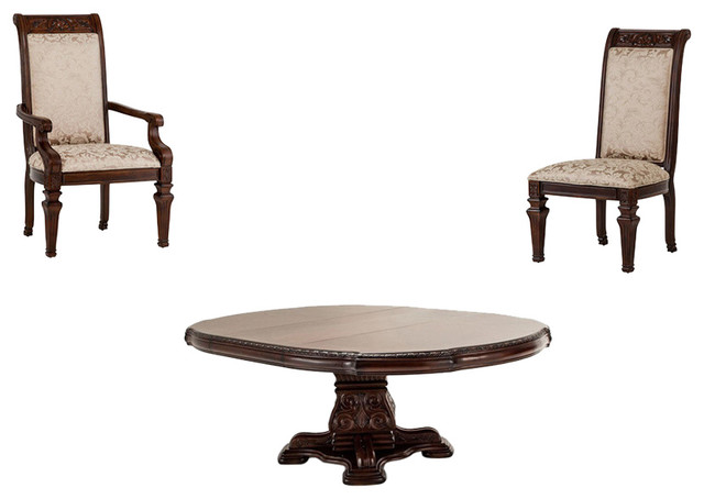Aico amini innovation villagio 5 piece round dining table for Traditional round dining table sets