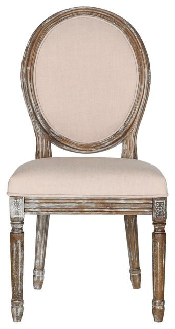 Holloway French Brasserie Linen Oval Side Chairs, Set of 2, Beige, Rustic Oak
