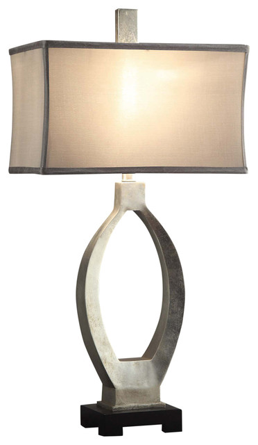 Camden Table Lamp, Resin Silver Leaf Finish.