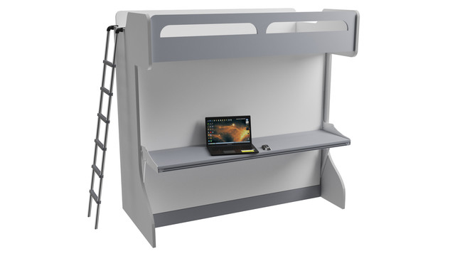 Castello Twin Over Full Wall Bunk Bed With Table, Gloss White and Matte Silver by Turbo Beds