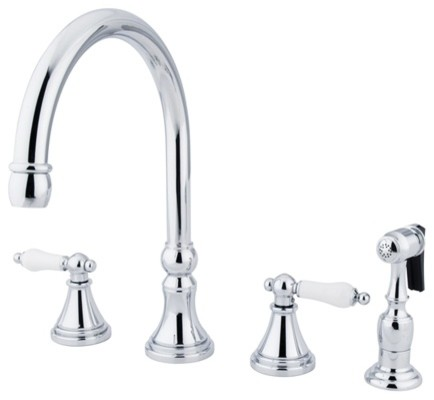 """Governor 8"""" Deck Mount Kitchen Faucet With Brass Sprayer, Polished Chrome."""