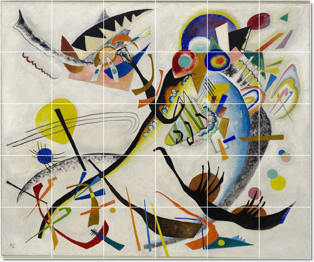 Wassily kandinsky abstract painting ceramic tile mural 39 for Abstract mural painting