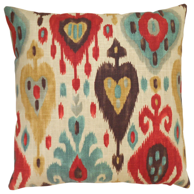Ikat Throw Pillow Cover Cream Red And Brown Mediterranean