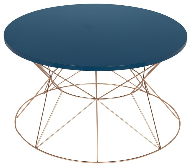 Mendel Round Rose Gold Metal Coffee Table, Blue.