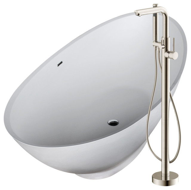 """Anzzi 74.4"""" Man-Made Stone Soaking Bathtub With Brushed Nickel Faucet."""